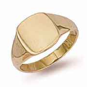 9ct Gold plain Cushion signet Ring 6g Hallmarked